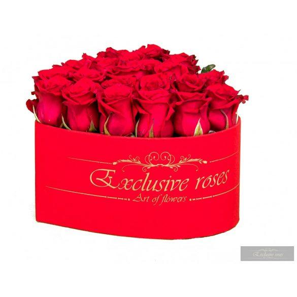 Exclusive Roses Bársony bevonatú   Szív alakú box