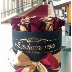 Exclusive Rózsa box Red  & Gold 19 szál