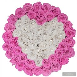 Exclusive Roses  Prémium Box Rózsaszín és fehér rózsából ,kristállyal a közepében